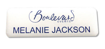 Standard plastic name badges - No border and white background | www.namebadgesinternational.ie